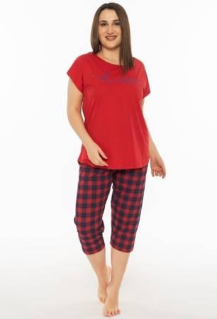 piżama damska BEAUTIFUL czerwień/kratka 1XL/46