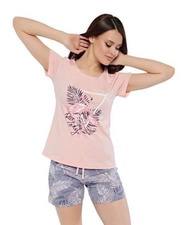 piżama damska FLAMING PAPROTKA róż/lila XL/42
