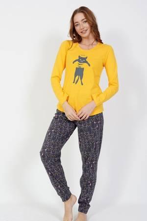 piżama damska KOCUR żółty/stalowy XL/42
