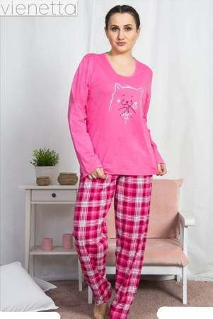 piżama damska KOTEK fuksja/kratka 2XL/48