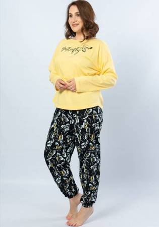 piżama damska MOTYLE żółty/czarny 3XL/50