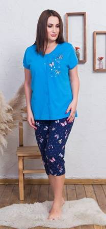 piżama damska MOTYLKI niebieski/granat 3XL/50