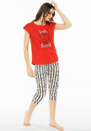 piżama damska SMALL BUNNY czerwień/paski XL/42