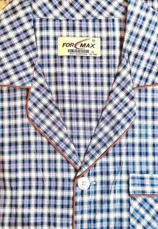 piżama męska rozpinana KRATKA NIEBIESKA M-5XL